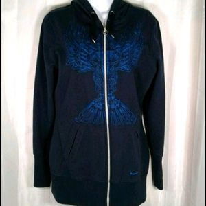 Nike Womens Fit Dry Embroidered Blue Hoodie Large